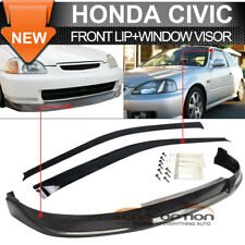 Fit 99-00 Honda Civic EK 3D CONCEPT Sport Front Bumper Lip PU + Sun Window Visor