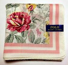 POLO Ralph Lauren Handkerchief hanky scarf bandana White Pink Flowers Auth New