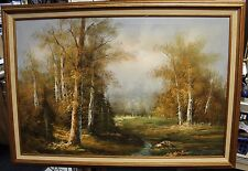VINTAGE AMAZING OIL PAINTING OF FOREST SECNE 36''x24'' Unsigned#110