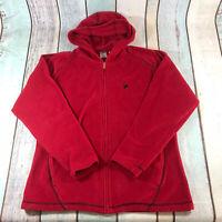 Vintage FILA Fleece Jacket Top Full Zip Hooded Red Womens Size XL X Large