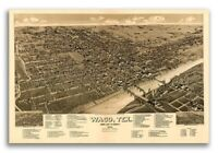 1886 Waco Texas Vintage Old Panoramic City Map - 16x24