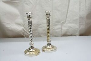 Pair Silverplate Candlesticks Candle Holders Fluted Columns Flower & Vine Scroll
