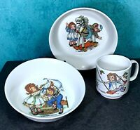 Vintage 1969 Raggedy Ann & Andy 3 Pc Oneida Deluxe Children's 2 Bowls And Cup