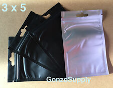 "350pcs 3x5"" Black Clear Zip Lock Mylar Bags-Storage Products Merchandise Sn"