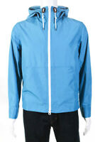 Brooks Brothers Mens Packable Full Zip Hooded Rain Jacket Blue Size Small