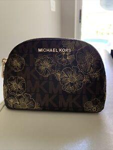 Michael Kors Jet Set Travel Pouch Cosmetic Case Floral $98 brown/gold EUC