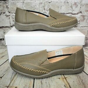 Womens Moccasins Taupe Leather Slip On Low Heel Shoes Size EUR 36 - 40 WIDE FIT