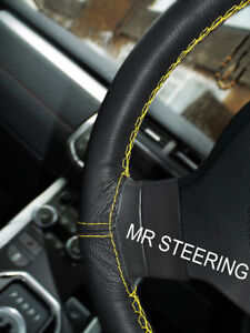 FOR 1994-2003 FORD MUSTANG MK4 LEATHER STEERING WHEEL COVER YELLOW DOUBLE STITCH