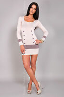 Sexy Women's Mini Dress Buttons Bodycon Scoop Neck Tunic Size 8-18 8078