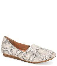 NWOB Born Sebra White Leather Slip-On Moccasins Loafers Snake Print, Size 6.5  M