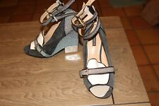 67f7c096ba1 NEW June Ambrose Peep Toe Ankle Strap Zipper Back Wedge Heel size 8.5 SHOES  (H6