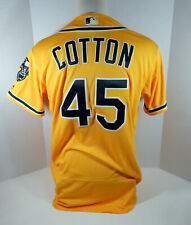2018 Oakland Athletics A's Jharrell Cotton #45 Game Issued Gold Jersey 50th