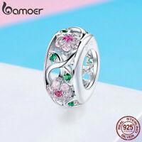 US center Women Pink CZ Charm S925 Sterling Silver Flower Fit Bracelet Jewelry