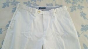 mens Peter Millar white pima cotton chino pants flat front size 36x32 excellent