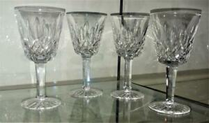 "Set of 4 Superb Waterford Crystal Lisemore  Wine 6"" Glasses - Signed"