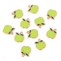 10Pcs Green Apple Shape Charm Pendant DIY Necklace /Bracelet Jewelry Accessory