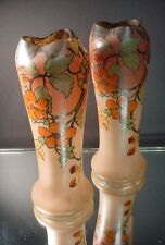 Rare Pr Legras French Art Glass Crimped Enameled Vases w/Flowers Art Deco France