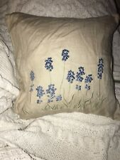 Pottery Barn Embroidered Blue Flowers Linen 18x18 Down Pillow & Cover Ribbon Tie
