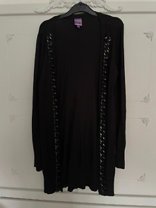 GIRLS LONG BLACK CARDIGAN FORMAL WINTER PARTY 12-13 YEARS FRONT CHAIN DETAIL