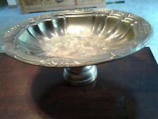 "Metal pedestal Fruit Bowl Center Piece Oval Browns Brass Embossed 11.5""X 9"" X 5"""