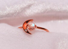 9K solid rose gold ring moonstone ring moon ring natural diamond Unique ring