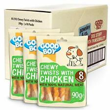 Chicken & Rawhide Dog Treats - Good Boy Chewy Twists with Chicken - Pack of 10 -