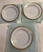 """Tirschenreuth Bavaria Gold Band on White 3 Rim Soup Bowls 8 1/4"""" Fairfax 4608"""