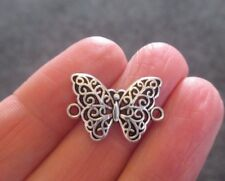 Pack of 10 Hollow Tibetan Silver Butterfly Connector Charms 20mm x 14mm