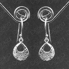 Genuine 925 Sterling Silver Tear Drop Dangle Hoops Earrings Teardrop Pear Hook