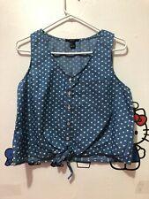 Top Forever 21 Women Blue Denim Heart Shape Dot Button Front Knot Tank Blouse S