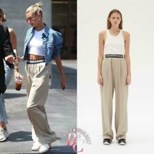 CELINE Logo Pants Beige Wool Trousers Phoebe Philo 40 Pre-Fall 2018 RARE