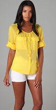 EUC Tory Burch LUISA bright yellow peasant blouse button down top drawstring 6