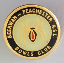 Beerwah Peachester RSL Bowling Club Pin Badge Black Widow Redback Spider (M13)