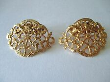 Vintage Designer Gold Plated Filigree Shoe Clips by MUSI Pat. No. 3,460,211