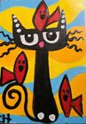 """ACEO CAT """"PROTECTOR OF BIRDS"""" Acrylic 2000-now"""