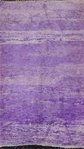 Thick-Plush Semi-Antique Purple Moroccan Oriental Area Rug Hand-knotted Wool 5x8