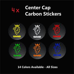 4x SAAB Badge Logo Carbon Center Centre Caps Alloy Rims Wheel Hub Stickers 93 95