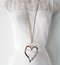 "Stunning 34"" long gold tone snake chain & huge diamante heart pendant necklace C"