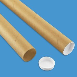 """Premium Kraft Mailing Shipping Poster Tubes with Plastic End Caps 2"""" x 24"""""""