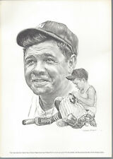 "Equitable Life Portrait Lithograph 8""x11"" Babe Ruth Robert Riger Print"