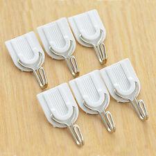 6Pcs Crochet Adhésif Fort Porte Mur Cuisine Salle de bain Crochet Blanc