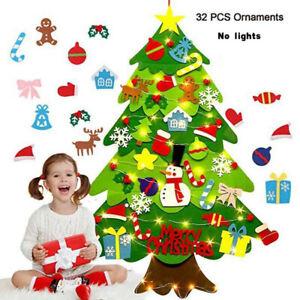 32PCS DIY Felt Christmas Tree Set with Ornaments Kids Xmas Gifts New Year Decor