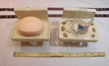 Vintage *Oatmeal Color* Ceramic Sink Set…soap dish & tumbler cup holder  NOS