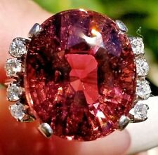 Gorgeous 17.20CTW Pink Peach Tourmaline VS Diamond Platinum Ring