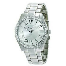 KENNETH COLE NY DRESS SILVER DIAL CRYSTALS ST. STEEL LADIES WATCH 10014580 NEW
