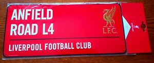 Official Red Liverpool FC 3D Metal Street Sign (Anfield Road L4) - FREE POST