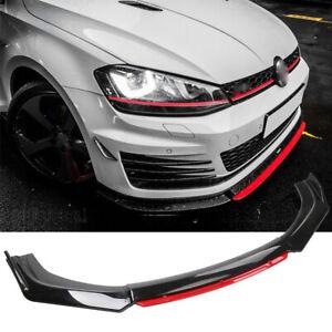 Front Bumper Lip Splitter Chin Spoiler Carbon Fiber For VW Golf MK5 MK6 MK7 GTI