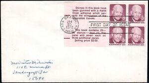 US FDC, SC#1395c, Dwight Eisenhower, Booklet Pane of 4+2 labels. No Cachet, 1972