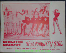 THAT NAUGHTY GIRL LOBBY CARD Size 11x14 MOVIE POSTER Card#5 BRIGITTE BARDOT