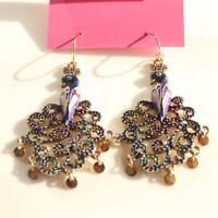 New Betsey Johnson Peacock Drop Dangle Earrings Gift Fashion Women Party Jewelry
